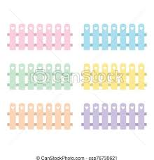 Set Of Colorful Nice Garden Fence With Heart Children Garden Vector Illustration Set Of Colorful Cute Garden Fence With