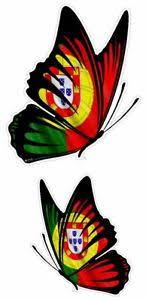 Pair Of Butterflies Design With Portugal Portuguese Flag Vinyl Car Sticker Decal Ebay
