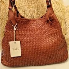 valentina bags cognac woven leather