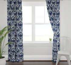Lotus Print Curtains Navy Curtains Dining Room Curtains Navy Living Ro Jll Home