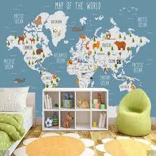 3d Carton Animal World Map Wallpaper Mural For Kids Room Children Bedroom Vintage Wall Papers Home Decor Wall Papers Home Decor Wallpapers Aliexpress