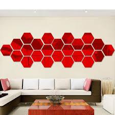12pcs 3d Mirror Wall Sticker Acrylic Hexagon Art Mural Decal Diy Dining Room Bedroom Kitchen Home Room Decor Removable Walmart Com Walmart Com