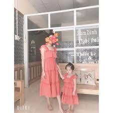 váy đôi cho mẹ và bé gái ⚡FREESHIP ⚡ Đầm đôi mẹ lụa hồng bèo Hàng Thiết Kế  Chất Đẹp, giá chỉ 238,000đ! Mua ngay kẻo hết!