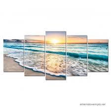 5 panels framed wall art sunset ocean