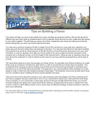 Tips On Building A Fence