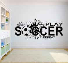 Soccer Wall Decal Eat Sleep Play Soccer Vinyl Wall Stickers Quote Kids Boy Teenager Bedroom Decor Sport Art Decals Mural Big Stickers For Wall Big Stickers For Walls From Onlinegame 11 04 Dhgate Com