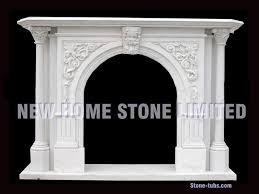 fireplace mantel white marble carving