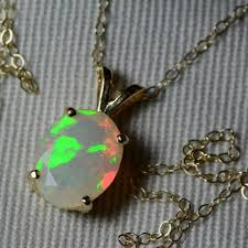 opal necklace 18k white gold faceted