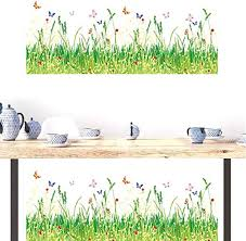 Amazon Com Bibitime 2 Sheets Green Grassland Flowers Butterfly Border Wall Decal Vinyl Sticker For Living Room Skirting Line Kitchen Bathroom Window Glass Door Kids Room Decor Art Mural Home Kitchen