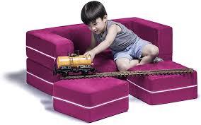 Amazon Com Jaxx Zipline Kids Modular Loveseat Ottomans Fold Out Lounger Fuchsia Furniture Decor