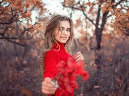 صور بنات الفيس بوك الجديدة Girl In Red Dress Autumn 4k صور بنات كيوت