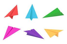 Avion en papier coloré ou origami avion jeu d'icônes ...