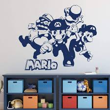 Amazon Com Byron Hoyle Super Mario Wall Decor Mario Luigi Wario And Yoshi Vinyl Wall Decal For Boys Room Playroom Video Game Fan Birthdays And Events Home Kitchen