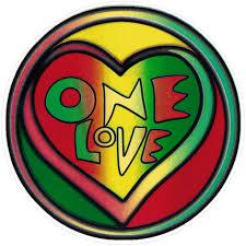 One Love Rasta Heart Small Window Sticker Decal Peace Resource Project