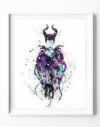 watercolor disney maleficent