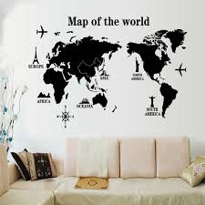 Large Size World Map Wall Stickers Black Map Of The World Home Decor For Kids Room Travel Airplane Wall Decals For Bedroom Mural Wall Stickers Aliexpress