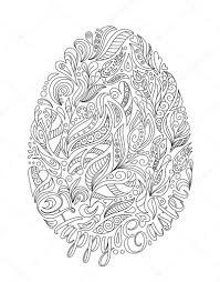 Paasei Met Patroon In Zentangle Stijl Kleurboek Voor Volwassenen