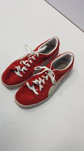 red suede athletic sneakers size 11