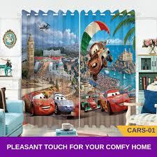 Cars Lightning Mcqueen Blue 3d Kids Bedroom Curtains Td Home