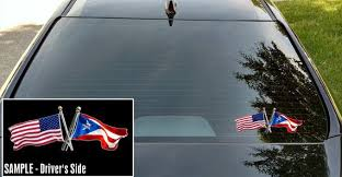 American And Puerto Rico Flags Crossed Vinyl Decal Puerto Etsy