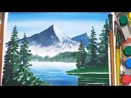 simple landscape with poster colour