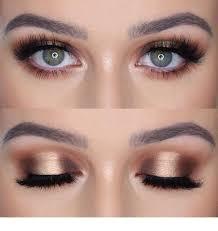 rose gold eye makeup and blue eyes