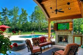fireplace tv patio backyard designs