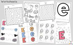 letter e worksheets activities fun