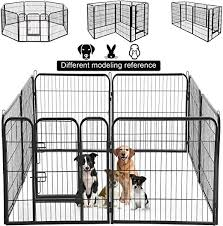 Amazon Com Dog Pen Extra Large Indoor Outdoor Back Or Front Yard Fence Cage Fencing Doggie Rabbit Cats Playpens Outside Fences With Door Dog Fence Playpen Heavy Duty 8 Panels 40 Inches