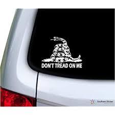Amazon Com Large Don T Tread On Me Snake White Vinyl Window Decal Tea Party Sticker Automotive