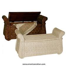 Whitewash Indoor Wicker Storage Bench With Wood Frame Bed Bench Entry Shoe Or Hope Chest More In Entryway Furniture Bed Frame Furniture For Small Spaces