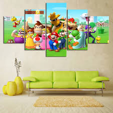 Hd Prints Modular Picture Kids Room Home Decor 5 Panel Super Mario Video Game Framework Wall Cartoon Poster Art Canvas Painting Painting Calligraphy Aliexpress