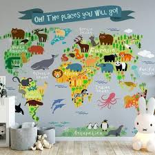 Oh The Places You Will Go Wall Mural Kids World Atlas Map No Etsy Kids Wall Murals World Map Mural Map Murals