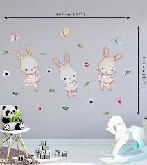 Bunny Nursery Wall Decor Bunny Stickers Bunny Wall Decal Ballerina Wall Decal Ball Vinilos Para Bebes Decoraciones De Guarderia Etiquetas De Pared De Guarderia