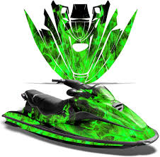 Amazon Com Wholesale Decals Jet Ski Graphics Kit Sticker Decal Compatible With Sea Doo Gtx 1996 1999 Flames Green Automotive
