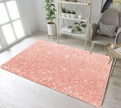 Rose Gold Glitter Design Floor Rug Mat Kids Bedroom Carpet Living Room Area Rugs Ebay