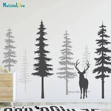 Diy Tree Decal 6 Trees Large Deer Forest Baby Room Decor Nature Nursery Wall Mural Stickers Bb039 Wall Stickers Aliexpress