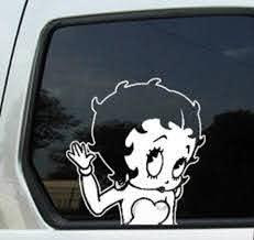 Betty Boop Girl Old School Window Decal Sticker Car Waving White Betty Boop Window Decals Car Stickers