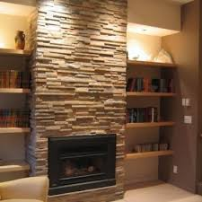stone fireplace with built in shelving