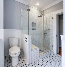 super bathroom half wall shower benches