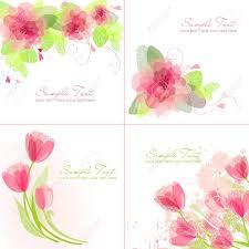 Juego De 4 Fondos De Flores Romanticos En Colores Rosa Y Blanco