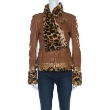 roberto cavalli brown leather fur lined