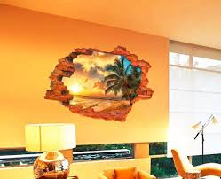 China Custom Adhesive 3d Fake Window Landscape Wall Sticker Promotion Gift China Wallpaper And Home Decoration Price