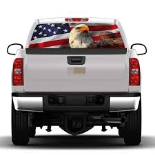 God Bless The Usa America Flag Rear Window Decal Sticker Pick Up Truck Suv Car