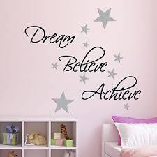 Dream Believe Achieve Wall Sticker Pack Includes 60 Silver Star Wall Decals Ebay