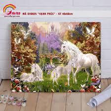 Tranh tự tô màu sơn dầu số hóa động vật - Mã DV0625 Hạnh phúc gia ...