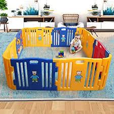 Amazon Com Sandinrayli Baby Playpen Kids 8 4 Panel Safety Play Center Yard Home Indoor Outdoor Fence Baby