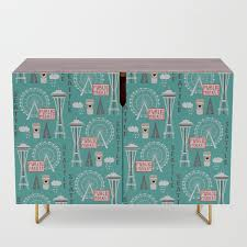 Seattle Travel Art Cute Decor For Nursery Kids Room Pattern Girls Or Boys Credenza By Charlottewinter Society6