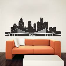Detroit Skyline Wall Mural Decal Cityscape Wall Decal Murals Primedecals