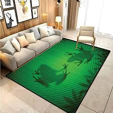 Amazon Com Animal Decor Classroom Rug Porch Rug Frog Shadow Silhouette On The Banana Tree Leaf In Tropical Lands Jungle Light Games Graphic For Boys Girls Kids Baby College Dorm Living Room Green